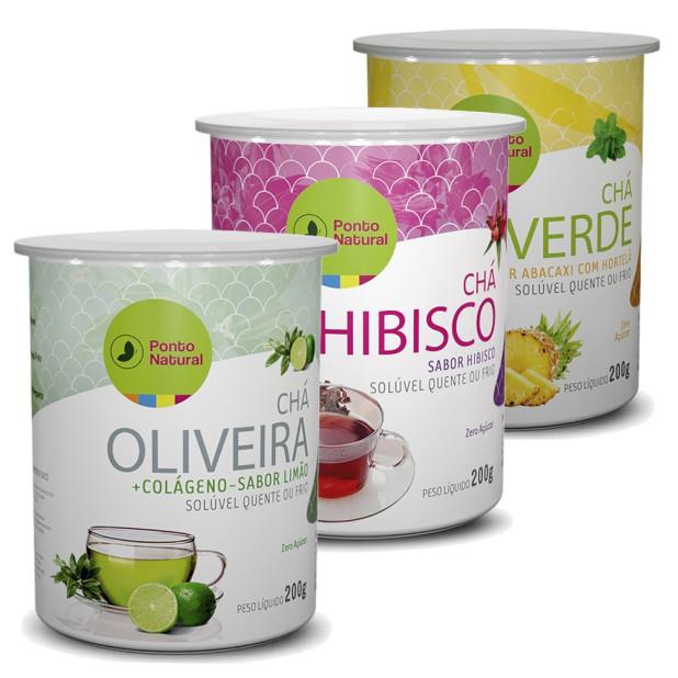 Kit Chá Solúvel Hibisco, Oliveira e Chá Verde Ponto Natural