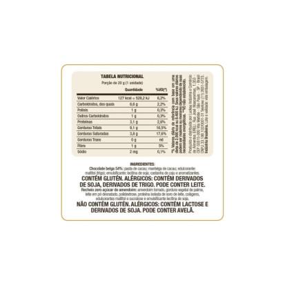 Bombom de Chocolate Belga Zero Açúcar 54% com Creme de Amendoim Luckau
